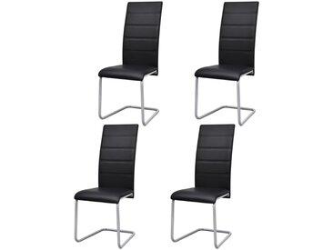 Chaises de salle à manger cantilever 4 pcs Noir Similicuir - vidaXL