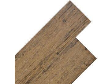 Planche de plancher PVC 5,26 m² 2 mm Marron noyer - vidaXL