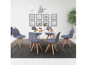 Ensemble de table et chaise à manger 7 pcs Blanc et gris clair - vidaXL