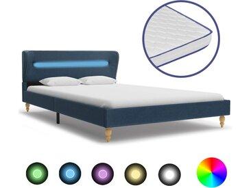 Lit avec LED et matelas à mémoire de forme Bleu Tissu 120x200cm - vidaXL