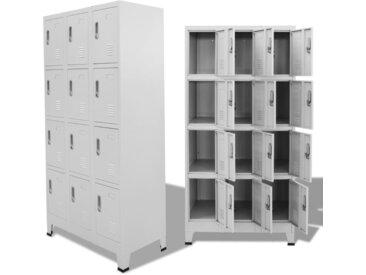 Armoire à casiers avec 12 compartiments 90 x 45 x 180 cm Gris   - vidaXL