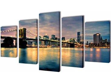 Set de toiles murales imprimées Pont de Brooklin vu de la rivière - vidaXL