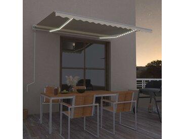 Auvent automatique avec capteur de vent et LED 450x300 cm Crème - vidaXL