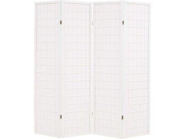 Cloison de séparation 4 panneaux Style japonais 160x170cm Blanc - vidaXL