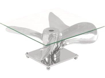 Table basse Argenté 60 x 60 x 30 cm Aluminium et verre trempé - vidaXL
