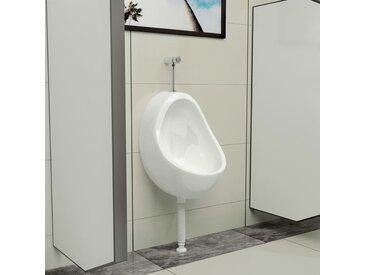 Urinoir suspendu avec valve de chasse d'eau Céramique Blanc - vidaXL
