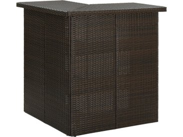 Table d'angle de bar Marron 100x50x105 cm Résine tressée - vidaXL