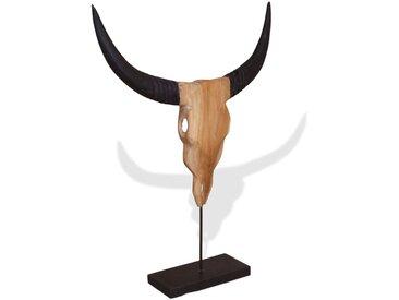 Sculpture sous forme de crâne de taureau Teck 66 x 15 x 88 cm - vidaXL