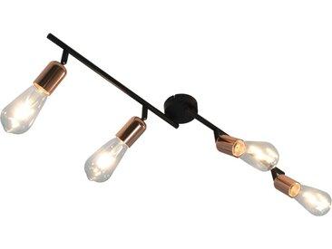 Projecteur à 4 voies avec ampoules à filament 2W Noir et cuivre - vidaXL
