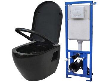 Toilette suspendue au mur avec réservoir Céramique Noir - vidaXL