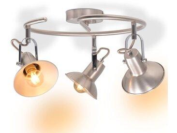 Plafonnier pour 3 ampoules E14 Argenté - vidaXL