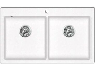 Évier de cuisine encastrable à 2 bacs en granite blanc crème - vidaXL