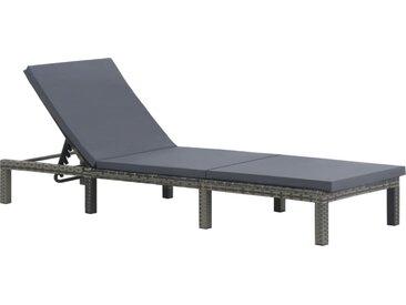 Chaise longue avec coussin Résine tressée Anthracite - vidaXL