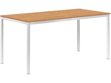 Table à dîner de jardin 160x80x75cm Bois de teck massif et inox - vidaXL