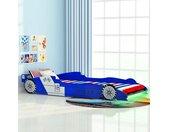 Lit voiture de course pour enfants avec LED 90 x 200 cm Bleu  - vidaXL