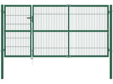 Portail de clôture de jardin avec poteaux 350x140 cm Acier Vert - vidaXL