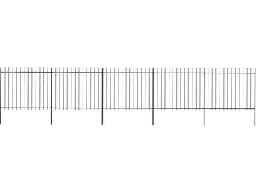 Clôture de jardin avec dessus en lance Acier 8,5 x 1,5 m Noir - vidaXL