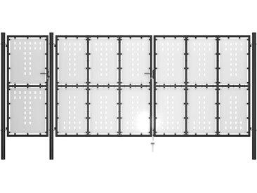 Portail de jardin Acier 500 x 175 cm Noir - vidaXL