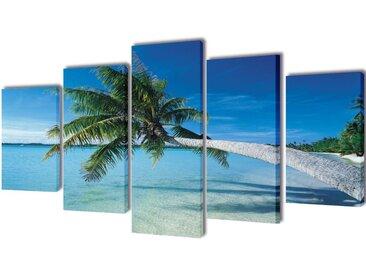 Set de toiles murales imprimées Plage avec palmier 200 x 100 cm - vidaXL