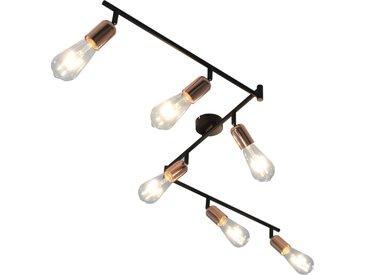 Projecteur à 6 voies avec ampoules à filament 2W Noir et cuivre - vidaXL