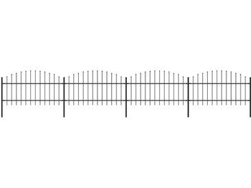 Clôture de jardin à dessus en lance Acier (1-1,25)x6,8 m Noir - vidaXL