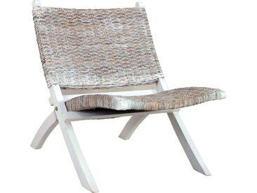 Chaise de relaxation Blanc Rotin naturel kubu et bois d'acajou - vidaXL