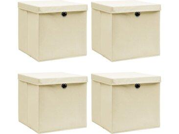 Boîtes de rangement à couvercles 4 pcs Crème 32x32x32 cm Tissu - vidaXL