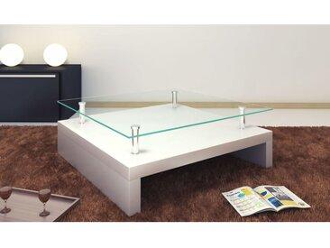 Table basse avec dessus de table en verre Blanc  - vidaXL