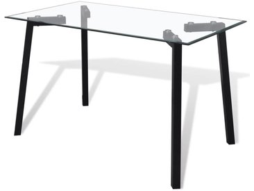 Table de salle à manger avec dessus de table en verre Noir  - vidaXL