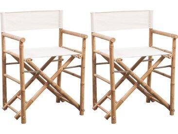 Chaise pliable 2 pcs Bambou et toile - vidaXL