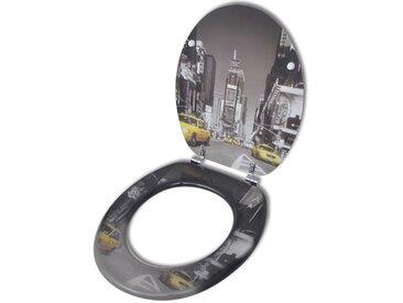 Siège de toilette avec couvercle en MDF Design de New York  - vidaXL