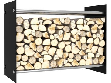 Portant de bois de chauffage Noir 80x35x60 cm Verre - vidaXL