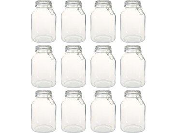 Pots en verre avec serrure 12 pcs 3 L - vidaXL