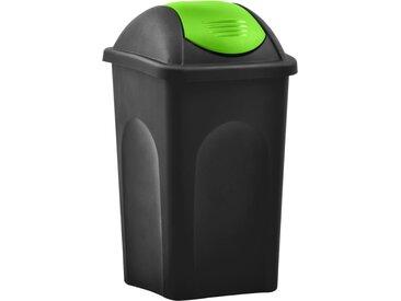 Poubelle avec couvercle pivotant 60 L Noir et vert - vidaXL