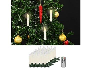 Bougies LED sans fil avec télécommande 30 pcs Blanc chaud - vidaXL