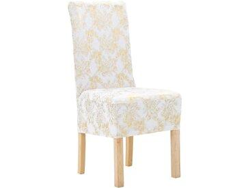 Housses extensibles de chaise 6 pcs Blanc avec imprimé doré - vidaXL