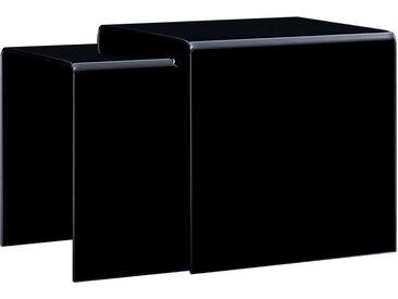 Tables gigognes 2 pcs Noir 42 x 42 x 41,5 cm Verre trempé  - vidaXL