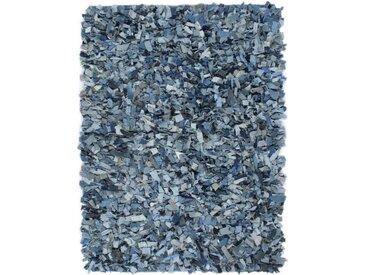 Tapis Shaggy Denim 80x160 cm Bleu - vidaXL