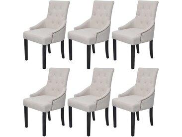 Chaises de salle à manger 6 pcs Gris crème Tissu - vidaXL