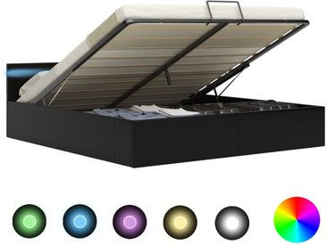 Cadre de lit à rangement avec LED Noir Similicuir 160x200 cm - vidaXL