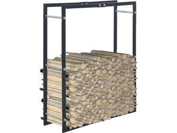 Portant de bois de chauffage Noir 80x25x100 cm Acier - vidaXL