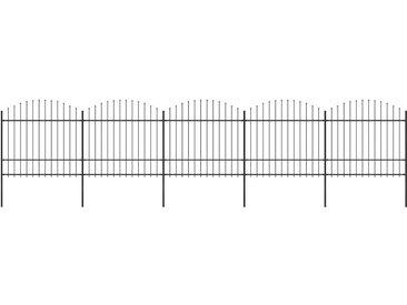Clôture de jardin à dessus en lance Acier (1,5-1,75)x8,5 m Noir - vidaXL