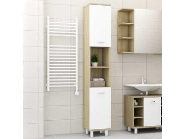 Armoire de bain Blanc et chêne sonoma 30x30x179 cm Aggloméré - vidaXL