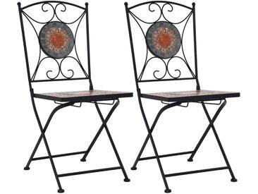 Chaises de bistrot mosaïque 2 pcs Orange et gris - vidaXL