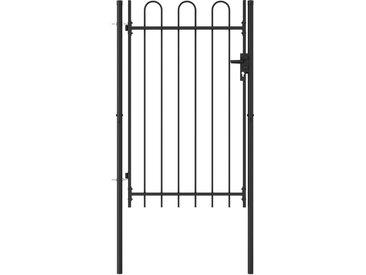 Portillon simple porte avec dessus arqué Acier 1x1,5 m Noir - vidaXL