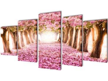 Set de toiles murales imprimées Cerisiers en fleurs 200 x 100 cm - vidaXL