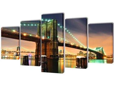 Set de toiles murales imprimées Pont de Brooklin 200 x 100 cm - vidaXL