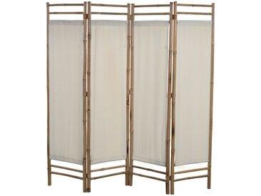 Cloison de séparation pliable 4 panneaux Bambou et toile 160 cm - vidaXL