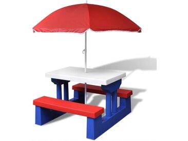Table et bancs de pique-nique avec parasol pour enfants - vidaXL