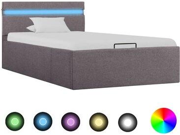 Cadre de lit à stockage hydraulique à LED Taupe Tissu 90x200 cm - vidaXL